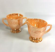 Fire King Peach Luster Ware Vintage Cream And Sugar Bowl Set Laurel Leaf Pattern