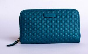 Gucci Wallet GUCCI Long Wallet Unisex Round Zipper Micro Guccissima  GG Leather