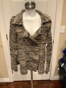 Free People Gray Double Breasted Boucle Knit Wool Cardigan, Size Small