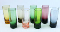 Vintage Mid Century Modern Shooters Shot Glass Set 8 Tall Multi Colored Cordials