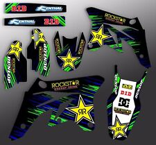 2006 2007 2008 KXF 250 GRAPHICS KIT KAWASAKI KX250F ROCKSTAR : BLUE / GREEN KIT
