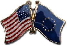 USA American European Union Flag Bike Motorcycle Hat Cap lapel Pin