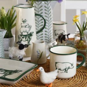 Gisela Graham Large Ceramic Farmyard Jug or Vase 20 x 12cm Gift