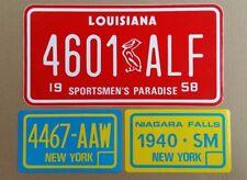Lot Stickers Plates American Sticker-Vintage Years 80 Louisiana New York