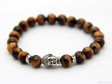 8mm Tiger Eye Semi Precious Stone Stretch Bracelet With Buddha