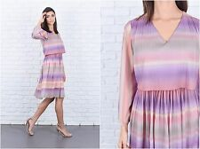 Vintage 80s Purple Southwestern ombre Stripe Dress Striped knee length M