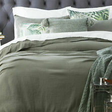 Renee Taylor Solana Washed Cotton Textured Quilt cover set-Fern