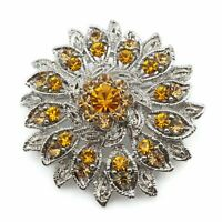 Silver Tone Butterscotch Gold Rhinestone Floral Fashion Brooch Scarf Lapel Pin