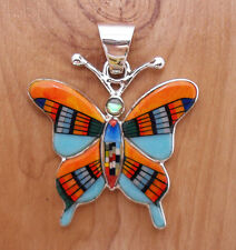 GENUINE TURQUOISE MULTICOLOR SPINY ONYX  INLAY .925 SILVER BUTTERFLY PENDANT