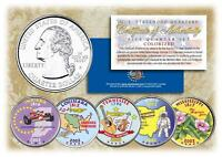 2002 COLORIZED US MINT STATE QUARTERS * Complete Set of 5 Coins * with Capsules