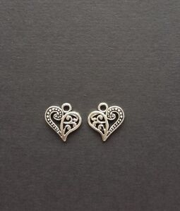 Tibetan Antique Silver Filigree Heart Charms in Packs of 10 50 OR 100 14 x 13 mm