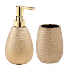 Set accessori bagno con dosasapone e porta spazzolino in ceramica color oro