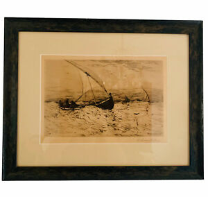 Swain Gifford Hand Signed Etching Neapolitan Fishing Boats Returning Home ca1884