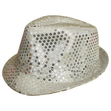 SILVER UNISEX SEQUIN FEDORA HAT TRILBY MJ FANCY DRESS HEN PARTY STAG DO  GANGSTER 6416c2957e7e