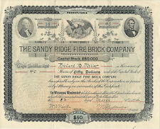 Pennsylvania 1894 The Sandy Ridge Fire Brick Co Stock Certificate #16