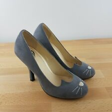TUK Grey Sophistakitty Leather Heels Size US 6- Cat Shoes- Rockabilly Pin-Up