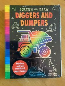 Scratch and Draw Diggers and Dumpers Activity Book Lockdown Kids Creative Art