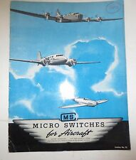 Micro Switch Corporation Micro Switches For Aircraft 1942 Catalog