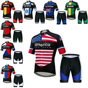 2020 Countries Team Kit Men's Bike Cycle Jersey and Shorts Padded Cycling Set