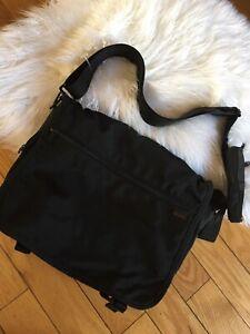 """TUMI Large Nylon Black Crossbody Messenger Tote Travel Bag 15"""" Laptop"""