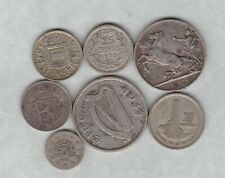 SEVEN SILVER FOREIGN/WORLD COINS 1901 TO 1958 IN FINE OR BETTER CONDITION.
