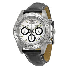 Invicta Speedway Chronograph White Dial Black Leather Mens Watch 7031