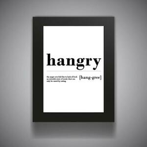HANGRY Funny Bathroom Print Contemporary Wall Art Poster Toilet Home Kitchen