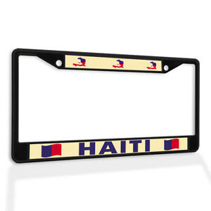 Metal License Plate Frame Vinyl Insert Haiti Flag and Map