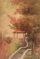 1909 G M A NELSON ANTIQUE WATERCOLOR LANDSCAPE STUDY W BUILDING STAIRS PAINTING