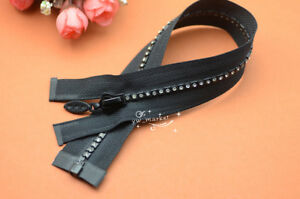 5 pcs 50cm long B grade RHINESTONE ZIPPERS BLACK Great for Western Shirt