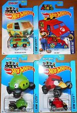 Hot Wheels LOT of 4 Cars Mystery Machine + Super Mario + Angry Birds Pig + Red