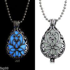 New Glow in the Dark Vase Flower Metal Chain Locket Necklace Pendant
