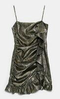 ZARA WOMAN NWT SALE! RUFFLED METALLIC DRESS SIZE M REF: 8342/348