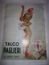 """MANIFESTO PUBBLICITARIO ORIGINALE COLORI""""TALCO PAGLIERI AL BORO TIMO""""  Boccasile"""