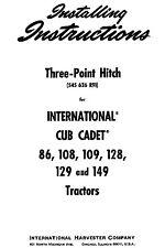 Cub Cadet (Three) 3 point Hitch for Model 86 thru 149 Installation Manual