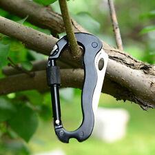 EDC Pocket Multi Tool Carabiner Keychain Hook Folding Knife Screwdriver Opener