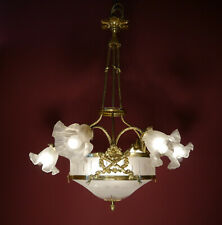 7 LIGHT CLASSIC ART NOUVEAU LAMP CHANDELIER SHINY BRASS ANTIQUE LUSTRE GLASS