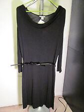 NWT H&M Ladies Thin Black Sweater Dress Long Sleeve Medium Belt Lightweight