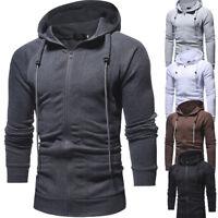 Men's Winter Hoodies Zip Up Hooded Sweatshirt Jumper Sweater Outwear Coat Jacket