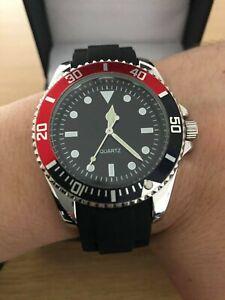 Men's Classic Black Red Watch, Designer Watch Quartz Movement + Presentation Box