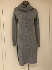 Designer Dress Stunning Cable-knit Grey Roll-neck Dress Size S/M UK 8-12 New