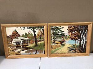 Vintage Paint by Number Bridge & Mill, Vintage PBN , Set of 2, FRAMED