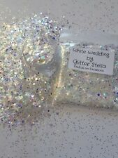 Nail Art ( White Wedding) Glitter Effect Mix  Sparkle 10g Bag Iridescent Strips