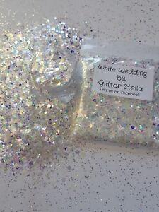 Nail Art ( White Wedding) Glitter Effect Mix  Sparkle 10g Bag Iridescent Strips