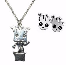 Guardians of the Galaxy Baby Groot Pendant Necklace with Stud Earrings Set