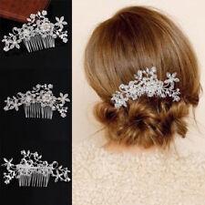 Damen Flower Crystal Rhinestone Hair Slide Pearl Wedding Hair Comb Clip Hairpin