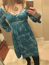EUC Anthropologie blue cotton Dress with empire waist. Size Small S.