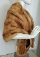 VTG Buffums CA Mink Fur Wrap Cape Natural Brown Women Med/Large Hand Pockets