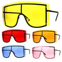 Extra Oversized Shield Robotic Futuristic Pop Color Sunglasses