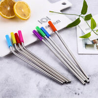 4x Stainless Steel Straight Bend Straw Reusable With Silicone Tips Clean Brush